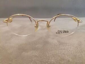 Jean Paul Gaultier JPG Vintage Half Rim OVAL Eyeglasses Frames Gold GP 51-19