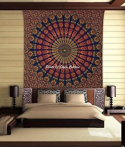 Peacock Mandala Tapestry Wall Hanging Indian Hippie Bohemian Bedding Bed Cover