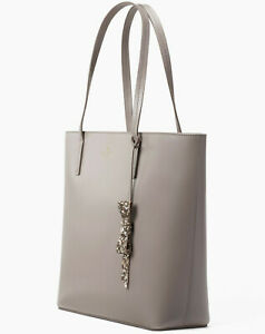 NEW Kate Spade Karla Cityscape Gray Genuine Leather Tote Seton WKRU5670 $299MSRP
