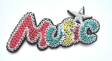 3.5 In Colorful Music With Star Embroidered Iron On Patch  014