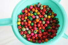 Lot Vintage 70's Macrame Bead Lot Wood BoHo Hippie Gypsy Green Pink Multi-color