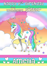 unicorn rainbow stars personalised A5 birthday card - any NAME AGE RELATIONSHIP