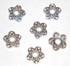 25 x Decorative Filigree Textured BEAD CAP - Antiqued Silver Plate ~ 11mm