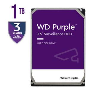 """Western Digital Purple 1TB HDD Surveillance Internal Hard Drive 3.5"""" WD10PURZ"""