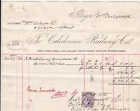 Caledonian Railway Co. 1895 Paddling Cinders Iron Works Stamp Paid Invoice 42123