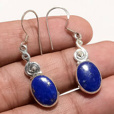 Natural Afghan Lapislazuli Earring 925 Sterling Silver Vintage Christmas Jewelry