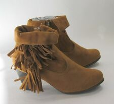 """new ladies Tan 2.5"""" Block Heel Round Toe Side Frill Sexy Ankle Boot Size 6.5"""