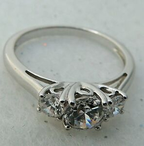 STERLING SILVER 0.925 CUBIC ZIRCONIA WEDDING ENGAGEMENT BAND Estate RING 10.25