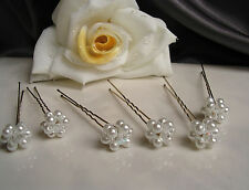 Neu~6 Haarnadeln mit Perlen~Blüten in weiss