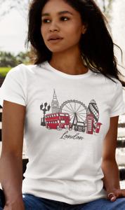 LONDON CITY WOMENS TRENDY T-SHIRT GIFT PRESENT UK Britain BRITISH SOUVENIR TEES