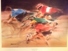 """Colorful Bikers - Doug Lew Lithograph Watercolor Print - Signed -23""""X30"""""""