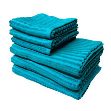 Pack of 6 - 100% Cotton Petril Peacock 3 x Bath Towels + 3 x Hand Towels