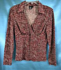 BCBG MAXAZRIA  LS Stretch V-Neck Wrap Shirt Knit Top  Red Taupe Black Plaid   L