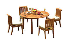"5 PC DINING TEAK SET GARDEN OUTDOOR PATIO 52"" ROUND TABLE & 4 GIVA ARMLESS CHAIR"