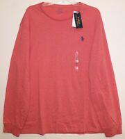 Polo Ralph Lauren Mens Dark Pink Heather L/S Crewneck T-Shirt NWT Size XL