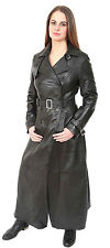 Womens Long Black Leather Coat Liv Full Length Double Breasted Trench Jacket NEW