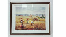 Lithography signed MIRIAM 53cm x 44cm framed. Rural Reapers and landscapes