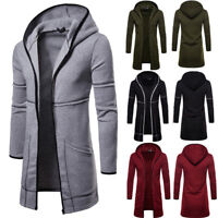 Jacket Coat Warm Trench Mens Long Overcoat Autumn Winter Casual Outwear Cardigan