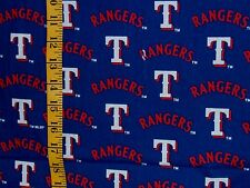 MLB TEXAS RANGERS BLUE  PRINT 100% COTTON FABRIC BY THE 1/2 YARD   VINTAGE