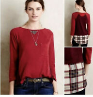 Little Yellow Button Anthropologie Backstory Tee Red Plaid T Shirt Top Blouse S