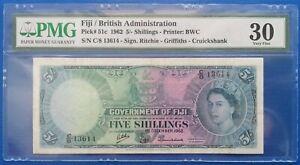 Fiji ; 5 shillings 1962 British Administration, P-51c, PMG VF 30