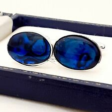 UK Handcrafted - Blue Abalone Shell Cabochon - Oval Silver Plated Cufflinks