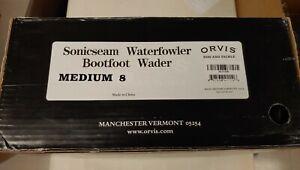 ORVIS Sonicseam Waterfowler Camo Bootfoot Wader Size Medium 8 Foot - FREE SHIP!
