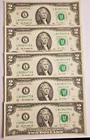USA - 5 Billets de 2 Dollars a l'état impeccable, neuf. Envoi Gratuit