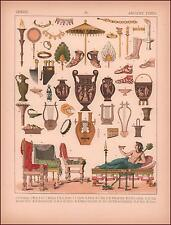Ancient Greek Relics, Household Items, scarce chromolithograph original 1882