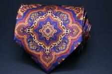 STEFANO RICCI LUXURY COLLECTION Silk Tie. Blue w Red Orange Yellow Floral