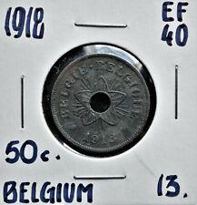 1918 Belgium 50 centimes EF-40