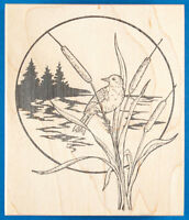 Bird on Cattails Rubber Stamp by Northwoods Lake Water Plant Wetland Landscape