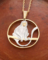 """Monkey Pendant and Necklace Hand Cut African Coin, 1 1/4"""" in Dia. ( # 918 )"""