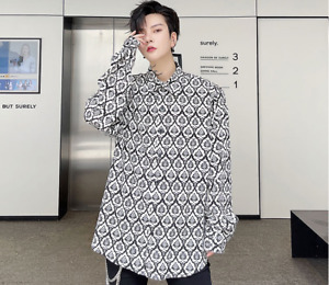 Men's Autumn Fashion Long Sleeve Printed Shirt Youth Casual Loose Party Blouses