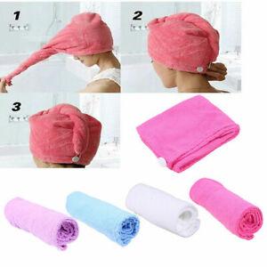 US Women Head Towel Turban Hair Drying Hat Wrap Twist Cap Loop Button Absorption