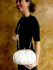 Vintage Judith Leiber Karung Lizard Clutch Pearl Clasp Cabochon Ivory Bag Purse