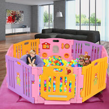 8 Panel Large Foldable Baby Playpen Kids Plastic Play Pens Room Divider Toy Pink