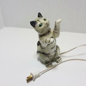 Vintage Playful Gray Tabby Cat Ceramic Figure Light Playing Kitty Figurine