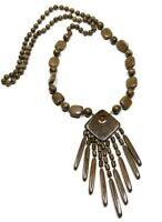 Sacramento Hand Crafted Amber Wooden Bohemian Ethnic Necklace Artisan Jewelry