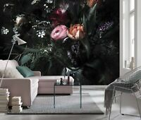 Giant Wall mural photo Wallpaper 366x254cm Black flowers floral bedroom decor