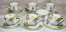 ANTIQUE AYNSLEY  BLUEBELL TIME 6 DEMITASSE CUPS, 6 SAUCERS, SUGAR BOWL HM QUEEN