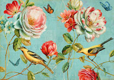Garden Flowers Birds Roses Botanical French Provincial Painting Canvas Print