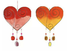 Heart Suncatcher Stained Glass Red Orange Mobile Window Garden Hanging Ornament