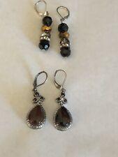 Vintage Pierced Lever Earrings with Gemstones Lot of 2