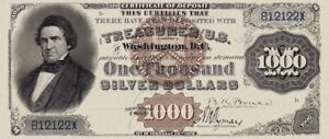 United States, Silver Certificates $10 - $1000, 1880, Complete Set REPRODUCTION