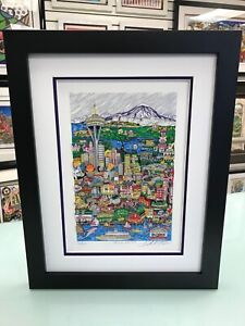 """Charles Fazzino 3D Artwork """" Hello Seattle  """" Signed & Numbered Framed"""