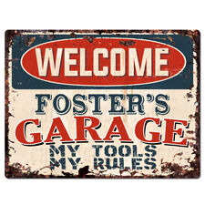 PPWG0923 WELCOME FOSTER'S GARAGE Chic Sign man cave decor Funny Gift