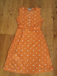 early cath kidston orange polka dot cotton vintage style dress  self belt  uk10