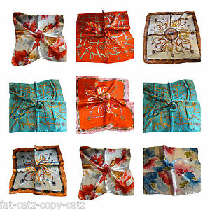 SILK SATIN FEEL LADIES SMALL CHAIN FLOWER FLORAL PRINT NECK 50cm SQUARE SCARF