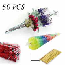 50 x Large Clear Cellophane Cone Bags Twist Ties Party Candy Sweet Cello Sweets